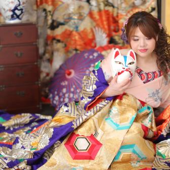 写真:京都東山でドレス&花魁撮影プラン