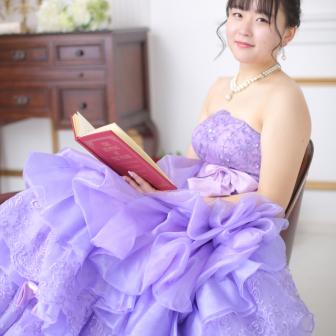 写真:紫のカラードレスで♥︎スタジオドレス撮影☆