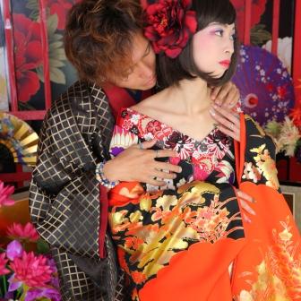 写真:男前&ボブで人形のように美しいカップル花魁