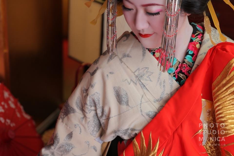 写真:モニカ特製髷と白塗りで本格派古典風花魁体験