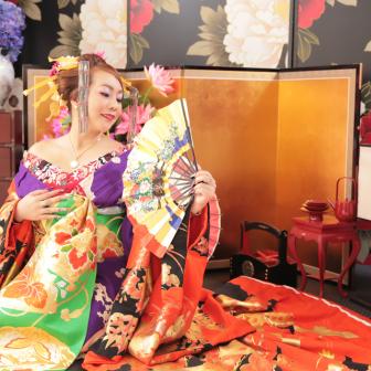 写真:扇子、絹目傘、小道具たくさん古典風花魁撮影☆