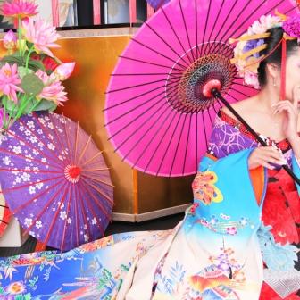 写真:絹目の傘×大人の色気×古典風花魁!