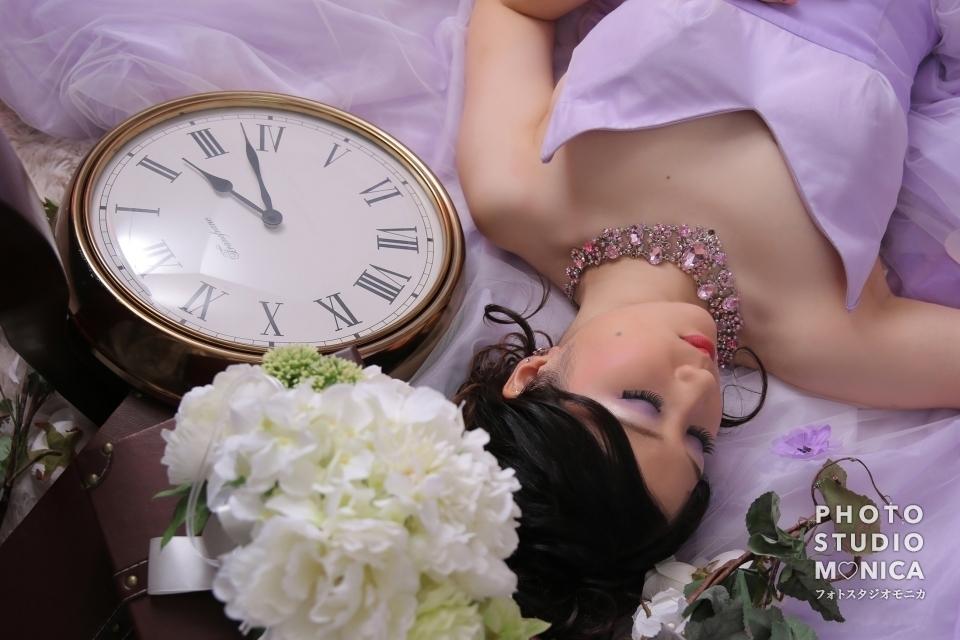 写真:ライラックカラーのドレスで素敵な淑女に変身撮影