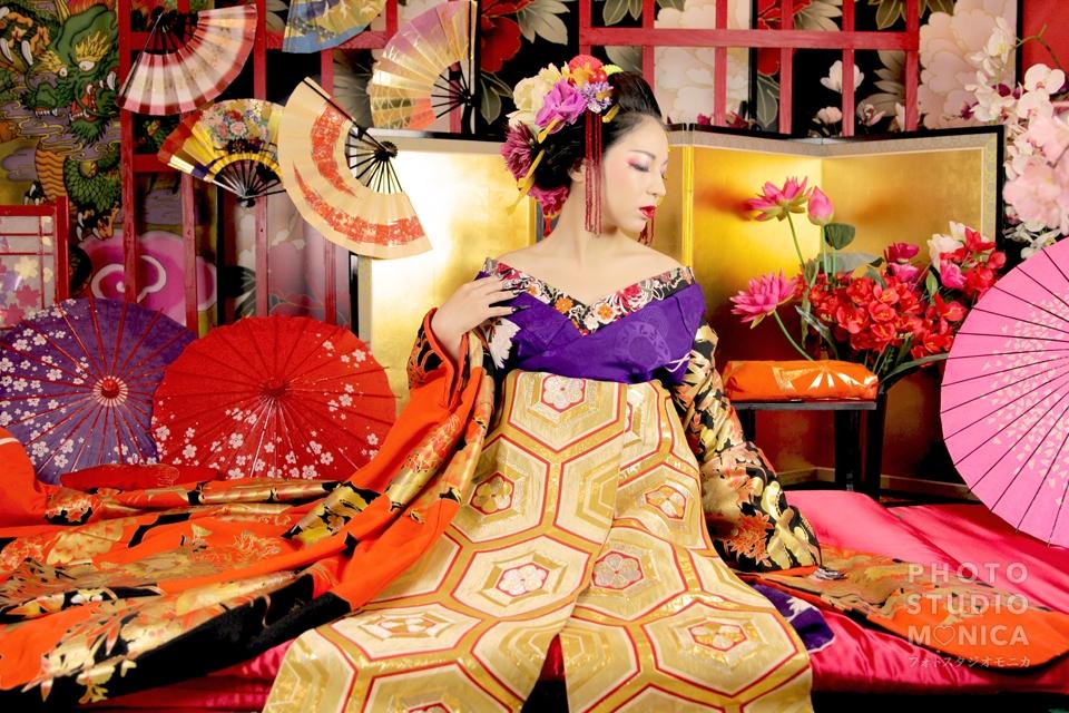 写真:【古典風花魁】キリッと大人な色合いに艶やかな表情( *'ω'* )