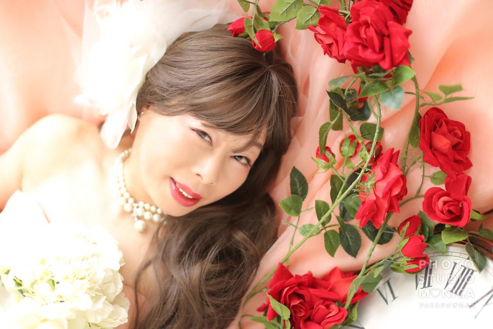 写真:ピンクのカラードレスでモニカスタジオ撮影☆
